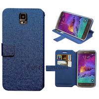 Housse etui coque pochette portefeuille pour Samsung G910F Galaxy Note 4 + film ecran - BLEU