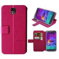 Housse etui coque pochette portefeuille pour Samsung G910F Galaxy Note 4 + film ecran - ROSE