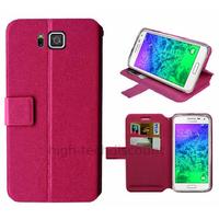Housse etui coque pochette portefeuille pour Samsung Galaxy Alpha G850F + film ecran - ROSE V2