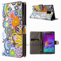 Housse etui coque pochette portefeuille PU cuir pour Samsung G910F Galaxy Note 4 + film ecran - FLEURS C