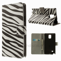 Housse etui coque pochette portefeuille PU cuir pour Samsung G910F Galaxy Note 4 + film ecran - ZEBRE
