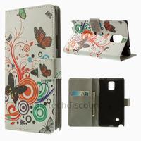 Housse etui coque pochette portefeuille PU cuir pour Samsung G910F Galaxy Note 4 + film ecran - PAPILLONS