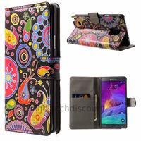 Housse etui coque pochette portefeuille PU cuir pour Samsung G910F Galaxy Note 4 + film ecran - PAISLEY