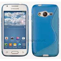 Housse etui coque silicone gel fine pour Samsung G357 Galaxy Ace 4 4G + film ecran - BLEU