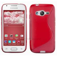 Housse etui coque silicone gel fine pour Samsung G357 Galaxy Ace 4 4G + film ecran - ROUGE
