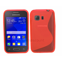 Housse etui coque silicone gel fine pour Samsung G130 Galaxy Young 2 + film ecran - ROUGE