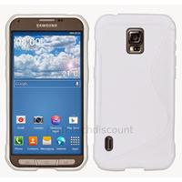 Housse etui coque silicone gel fine pour Samsung G870 Galaxy S5 Active + film ecran - BLANC