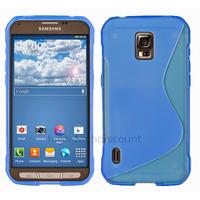 Housse etui coque silicone gel fine pour Samsung G870 Galaxy S5 Active + film ecran - BLEU