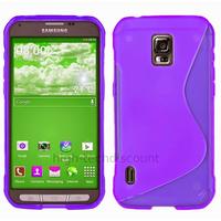 Housse etui coque silicone gel fine pour Samsung G870 Galaxy S5 Active + film ecran - MAUVE