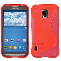 Housse etui coque silicone gel fine pour Samsung G870 Galaxy S5 Active + film ecran - ROUGE
