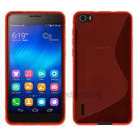 Housse etui coque pochette silicone gel fine pour Huawei Honor 6 + film ecran - ROUGE