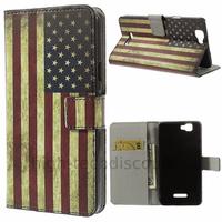 Housse etui coque pochette portefeuille PU cuir pour Wiko Rainbow 4G + film ecran - USA