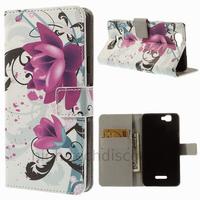Housse etui coque pochette portefeuille PU cuir pour Wiko Rainbow 4G + film ecran - LOTUS