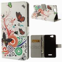 Housse etui coque pochette portefeuille PU cuir pour Wiko Rainbow 4G + film ecran - PAPILLONS