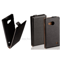 Housse etui coque pochette PU cuir fine pour Nokia Lumia 730 735 + film ecran - NOIR