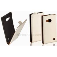 Housse etui coque pochette PU cuir fine pour Nokia Lumia 730 735 + film ecran - BLANC