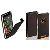 Housse etui coque pochette PU cuir fine pour Nokia Lumia 830 + film ecran - NOIR