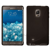 Housse etui coque pochette silicone gel fine pour N915 Galaxy Note Edge + film ecran - NOIR