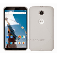 Housse etui coque pochette silicone gel fine pour Google Motorola Nexus 6 + film ecran - BLANC
