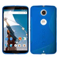 Housse etui coque pochette silicone gel fine pour Google Motorola Nexus 6 + film ecran - BLEU
