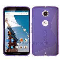 Housse etui coque pochette silicone gel fine pour Google Motorola Nexus 6 + film ecran - MAUVE