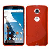 Housse etui coque pochette silicone gel fine pour Google Motorola Nexus 6 + film ecran - ROUGE