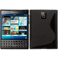 Housse etui coque pochette silicone gel fine pour Blackberry Passport + film ecran - NOIR
