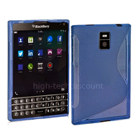 Housse etui coque pochette silicone gel fine pour Blackberry Passport + film ecran - BLEU