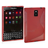 Housse etui coque pochette silicone gel fine pour Blackberry Passport + film ecran - ROUGE