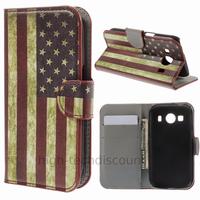 Housse etui coque pochette portefeuille PU cuir pour Samsung G357 Galaxy Ace 4 4G + film ecran - USA