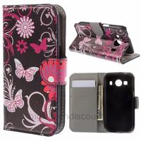 Housse etui coque pochette portefeuille PU cuir pour Samsung G357 Galaxy Ace 4 4G + film ecran - FLEURS N