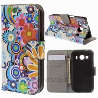 Housse etui coque pochette portefeuille PU cuir pour Samsung G357 Galaxy Ace 4 4G + film ecran - FLEURS C