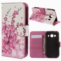 Housse etui coque pochette portefeuille PU cuir pour Samsung G357 Galaxy Ace 4 4G + film ecran - CERISIER