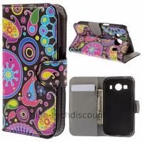 Housse etui coque pochette portefeuille PU cuir pour Samsung G357 Galaxy Ace 4 4G + film ecran - PAISLEY