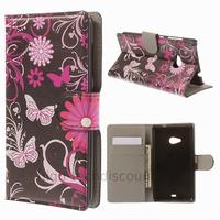 Housse etui coque pochette portefeuille PU cuir pour Microsoft Nokia Lumia 535 + film ecran - FLEURS N