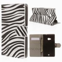Housse etui coque pochette portefeuille PU cuir pour Microsoft Nokia Lumia 535 + film ecran - ZEBRE