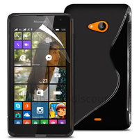 Housse etui coque pochette silicone gel fine pour Microsoft Nokia Lumia 535 + film ecran - NOIR
