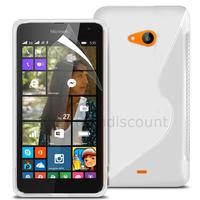 Housse etui coque pochette silicone gel fine pour Microsoft Nokia Lumia 535 + film ecran - BLANC