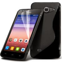 Housse etui coque pochette silicone gel fine pour Huawei Ascend Y550 + film ecran - NOIR