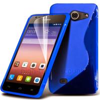 Housse etui coque pochette silicone gel fine pour Huawei Ascend Y550 + film ecran - BLEU