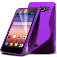 Housse etui coque pochette silicone gel fine pour Huawei Ascend Y550 + film ecran - MAUVE