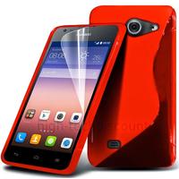 Housse etui coque pochette silicone gel fine pour Huawei Ascend Y550 + film ecran - ROUGE