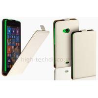 Housse etui coque pochette simili cuir fine pour Microsoft Lumia 535 + film ecran - BLANC