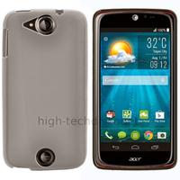 Housse etui coque pochette silicone gel fine pour Acer Liquid Jade S + film ecran - BLANC TRANSPARENT