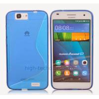 Housse etui coque pochette silicone gel fine pour Huawei Ascend G7 + film ecran - BLEU