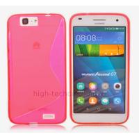 Housse etui coque pochette silicone gel fine pour Huawei Ascend G7 + film ecran - ROSE