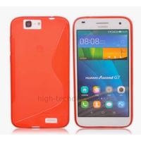 Housse etui coque pochette silicone gel fine pour Huawei Ascend G7 + film ecran - ROUGE