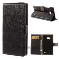 Housse etui coque portefeuille simili cuir pour Nokia Lumia 730 735 + film ecran - NOIR