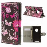 Housse etui coque portefeuille simili cuir pour Nokia Lumia 830 + film ecran - FLEURS N