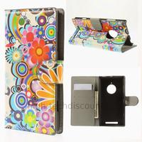 Housse etui coque portefeuille simili cuir pour Nokia Lumia 830 + film ecran - FLEURS C